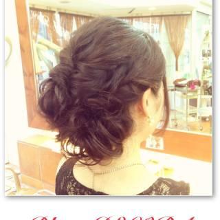 結婚式 まとめ髪 ストリート 編み込み ヘアスタイルや髪型の写真・画像