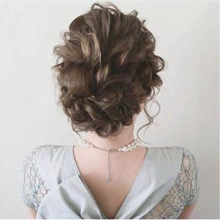 結婚式 ミディアム 大人かわいい ヘアアレンジ ヘアスタイルや髪型の写真・画像