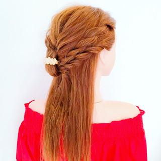 夏 ロング 涼しげ フェミニン ヘアスタイルや髪型の写真・画像