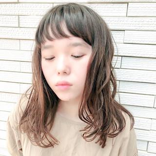フェミニン 前髪あり ナチュラル ミディアム ヘアスタイルや髪型の写真・画像 ヘアスタイルや髪型の写真・画像
