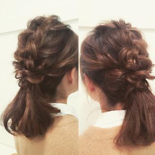 大人かわいい ゆるふわ 簡単ヘアアレンジ ポニーテール ヘアスタイルや髪型の写真・画像