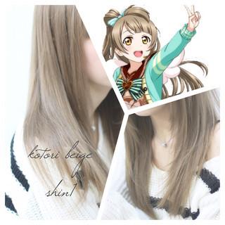 アッシュ 子供 ベージュ フェミニン ヘアスタイルや髪型の写真・画像