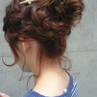 ヘアアレンジ ナチュラル かわいい ミディアム ヘアスタイルや髪型の写真・画像