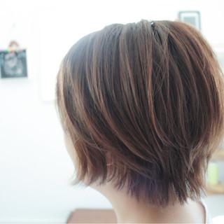 小顔 ナチュラル ショートボブ ショート ヘアスタイルや髪型の写真・画像