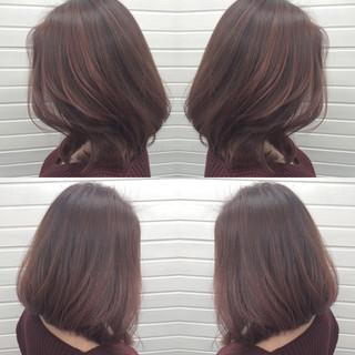 色気 ニュアンス ボブ ラベンダーピンク ヘアスタイルや髪型の写真・画像