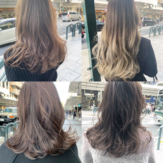 セミロング レイヤーカット ブラウンベージュ レイヤースタイル ヘアスタイルや髪型の写真・画像
