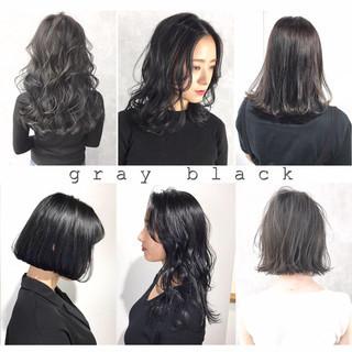 グレージュ モード ブルーブラック 暗髪 ヘアスタイルや髪型の写真・画像