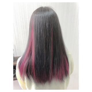 大人可愛い 黒髪 インナーピンク 簡単ヘアアレンジ ヘアスタイルや髪型の写真・画像