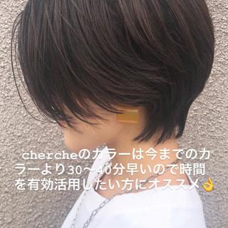 暗髪 グレージュ ショート 暗髪女子 ヘアスタイルや髪型の写真・画像