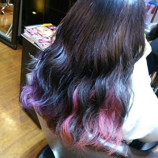 ネイビー ピンク パープル ストリート ヘアスタイルや髪型の写真・画像