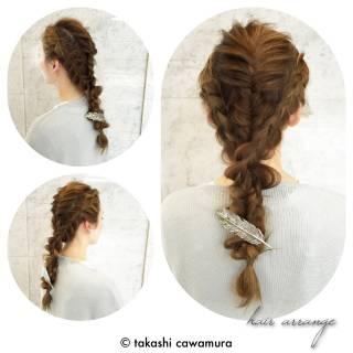 編み込み フィッシュボーン ロング ヘアアレンジ ヘアスタイルや髪型の写真・画像 ヘアスタイルや髪型の写真・画像