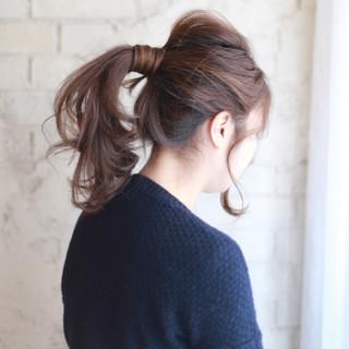 ポニーテール セミロング 大人かわいい ショート ヘアスタイルや髪型の写真・画像
