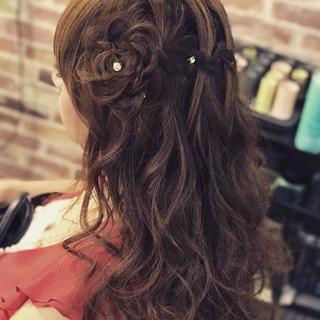 ナチュラル セミロング 簡単ヘアアレンジ 女子会 ヘアスタイルや髪型の写真・画像