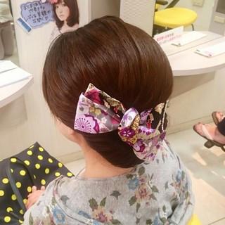 和装 ゆるふわ お祭り セミロング ヘアスタイルや髪型の写真・画像 ヘアスタイルや髪型の写真・画像