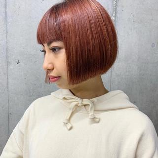 ボブ ベリーピンク ガーリー ショートヘア ヘアスタイルや髪型の写真・画像