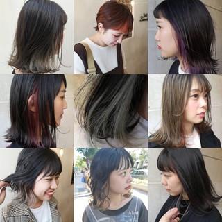 ワイドバング インナーカラー N.オイル マッシュウルフ ヘアスタイルや髪型の写真・画像