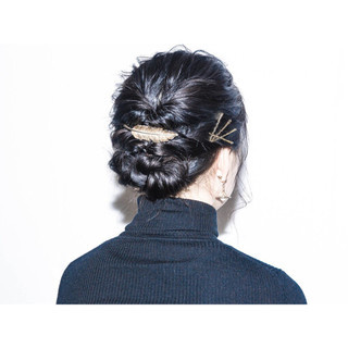 ショート 暗髪 簡単ヘアアレンジ ヘアアレンジ ヘアスタイルや髪型の写真・画像