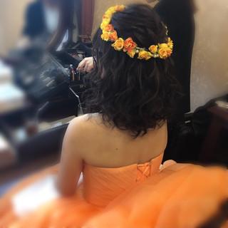 結婚式ヘアアレンジ フェミニン ボブアレンジ 結婚式 ヘアスタイルや髪型の写真・画像