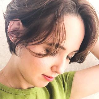 ハンサムショート 外国人風カラー アンニュイほつれヘア ショート ヘアスタイルや髪型の写真・画像