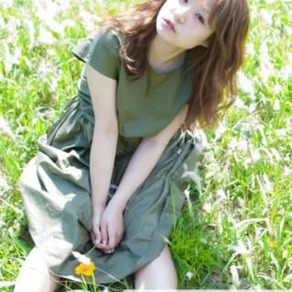 ロング ガーリー 春 フェミニン ヘアスタイルや髪型の写真・画像