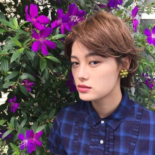 ベリーショート デート ショート ミルクティー ヘアスタイルや髪型の写真・画像 ヘアスタイルや髪型の写真・画像