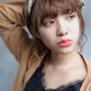 ヘアアレンジ ウェーブ ミディアム パーマ ヘアスタイルや髪型の写真・画像