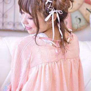 かわいい ミディアム ツインテール ガーリー ヘアスタイルや髪型の写真・画像