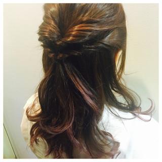 ヘアアレンジ グラデーションカラー セミロング ハーフアップ ヘアスタイルや髪型の写真・画像