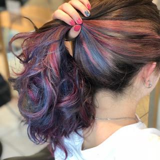 暗髪 ロング ブリーチ グレージュ ヘアスタイルや髪型の写真・画像