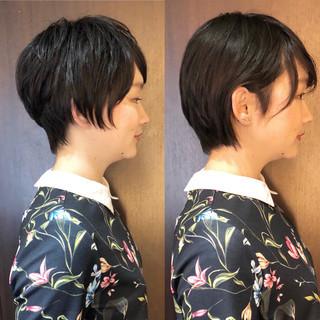 モテボブ 黒髪 ミニボブ 黒髪ショート ヘアスタイルや髪型の写真・画像