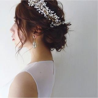 ナチュラル セミロング 結婚式 大人かわいい ヘアスタイルや髪型の写真・画像