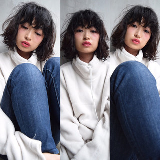 黒髪 パーマ ガーリー 簡単 ヘアスタイルや髪型の写真・画像