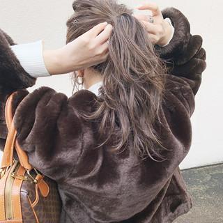 デート ミルクティーグレージュ 簡単ヘアアレンジ セミロング ヘアスタイルや髪型の写真・画像 ヘアスタイルや髪型の写真・画像