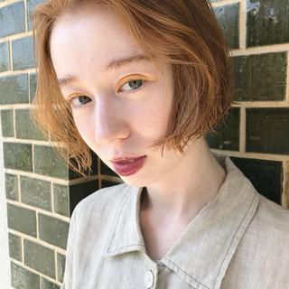 透明感 ボブ オレンジ ハイトーン ヘアスタイルや髪型の写真・画像