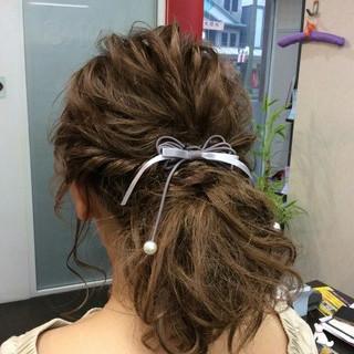 結婚式 編み込み ヘアアレンジ ナチュラル ヘアスタイルや髪型の写真・画像