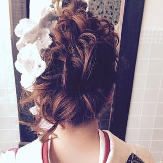 アップスタイル セミロング 成人式 大人かわいい ヘアスタイルや髪型の写真・画像