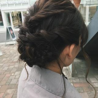 結婚式 コンサバ 簡単ヘアアレンジ 編み込み ヘアスタイルや髪型の写真・画像