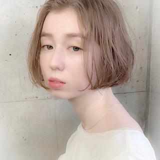 ボブ グレージュ フェミニン 透明感カラー ヘアスタイルや髪型の写真・画像