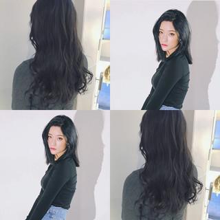 オルチャン セミロング ナチュラル 渋谷系 ヘアスタイルや髪型の写真・画像