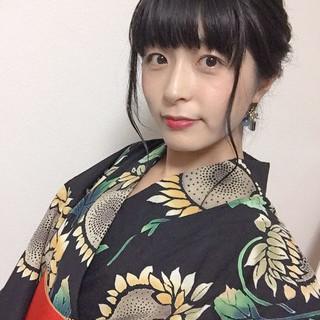 浴衣アレンジ フェミニン ミディアム 黒髪 ヘアスタイルや髪型の写真・画像