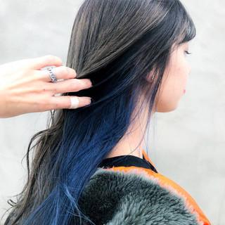 モード ブルージュ クールロング インナーカラー ヘアスタイルや髪型の写真・画像 ヘアスタイルや髪型の写真・画像