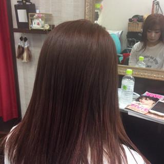 グラデーションカラー ガーリー セミロング ピンクカラー ヘアスタイルや髪型の写真・画像