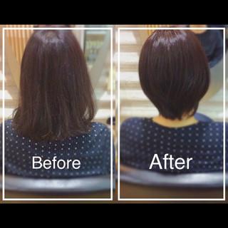 白髪染め 艶髪 ショート 髪質改善トリートメント ヘアスタイルや髪型の写真・画像