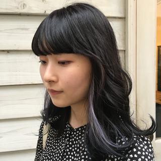 インナーブルー ロング インナーカラー 透明感カラー ヘアスタイルや髪型の写真・画像