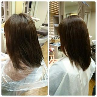 パーマ 縮毛矯正 大人かわいい セミロング ヘアスタイルや髪型の写真・画像