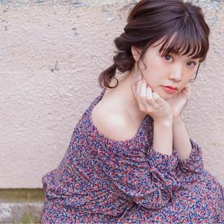 大人女子 ミディアム 簡単ヘアアレンジ ツインテール ヘアスタイルや髪型の写真・画像
