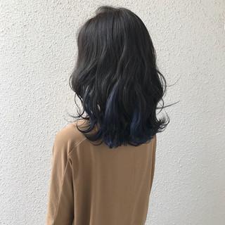 インナーカラー ダブルカラー ハイトーン ナチュラル ヘアスタイルや髪型の写真・画像