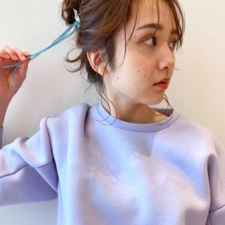ナチュラル 簡単ヘアアレンジ トレンド 後れ毛 ヘアスタイルや髪型の写真・画像