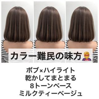 外国人風カラー ミニボブ ヘアカラー 透明感カラー ヘアスタイルや髪型の写真・画像