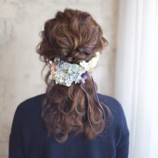 ヘアアレンジ 花嫁 ショート セミロング ヘアスタイルや髪型の写真・画像